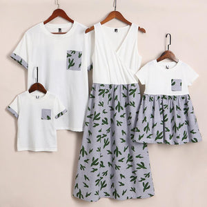Cactus Prints Color Block Family Outfits