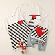 Stripes Heart Pattern Round Neck Family T-Shirt