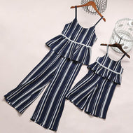 Mom Girl Stripes Ruffle Trim Matching Outfits