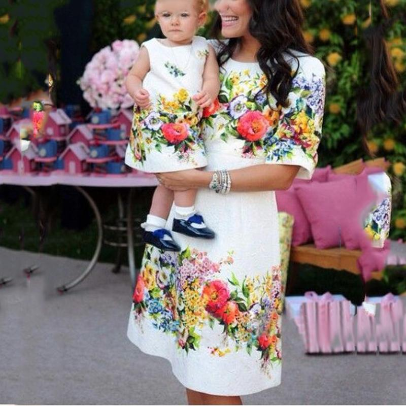 Fashion Printed Round Neck Sleeve Parent-Child Fitted Dress