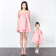 Mom Girl Solid Color Cold Shoulder Matching Dress