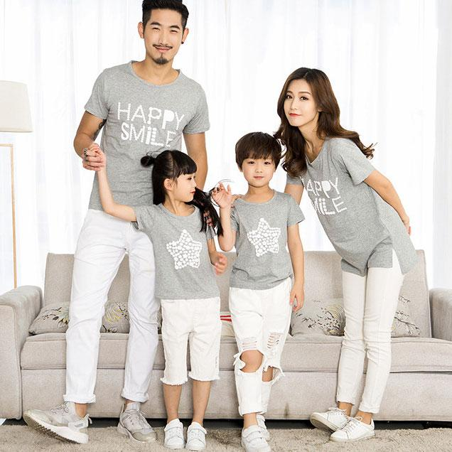 Star Letters Pattern Family T-Shirt