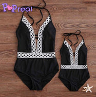 Mom Girl Lace Patchwork Halter Matching Swimwear
