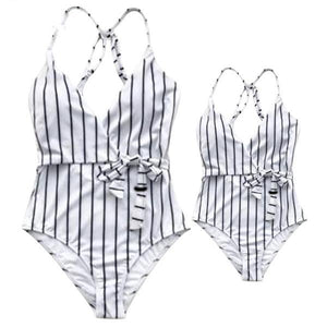 Mom Girl Contrast Stripes Matching Swimwear