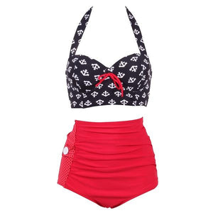 Mom Girl Anchor Prints Bowknot Decorated Matching Swimwear