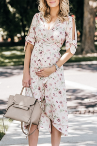 Maternity Floral Print V-Neck Cold Shoulder Tea-Length Dress