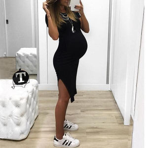 Maternity Side Slit Knee-Length Dress