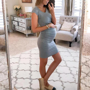 Maternity Round Neck Casual Short Dress