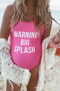 Maternity Letter Print One-Piece Swimsuit