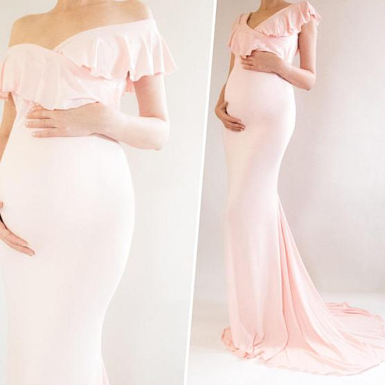 Baby Shower Gown Sweetheart Neckline Gown Fitted Maternity Dress