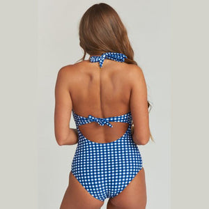 Maternity Plaid Blue Elegant Swimsuit Set