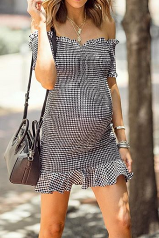 Maternity Off Shoulder Stripes Ruffles Short Dress
