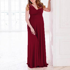 Maternity V-Neck Sleeveless Full Length Baby Shower Dress