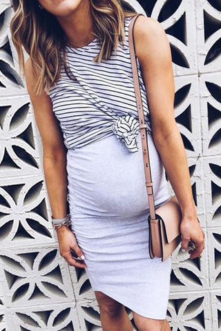 Maternity Stripes Color Block Fake Two Pieces Dress