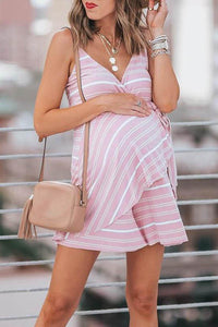 Maternity Flounced Stripes Cami Dress
