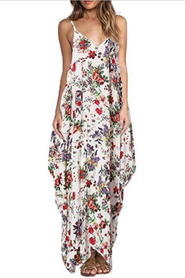 Maternity Floral Print Full Length Cami Dress