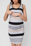 Sleeveless Maternity Striped Nursing Dress