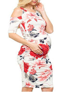 Floral Short Sleeve Maternity Midi Dress