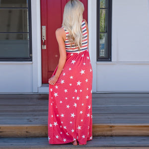 Maternity Stripe Star Maxi Tank Dress