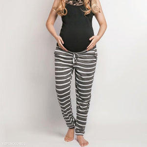 Striped Drawstring Maternity Sweatpants