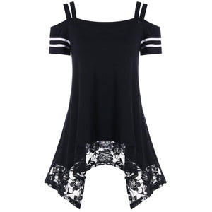 Irregular Hem Lace Short Sleeve Cami Dress