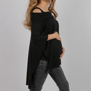 Maternity Off Shoulder Asymmetric Hem Plain T-Shirts
