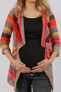Maternity Asymmetric Hem  Striped Cardigans