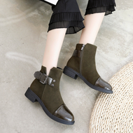 Women Round Toe Side Zipper PU Belt Buckle Boots