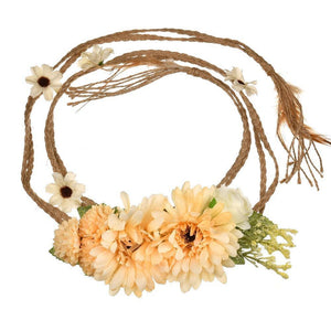 Bohemia Style Artificial Flower Belt With Long Braid Rope Women Girls Wedding Sashes Floral Belt Women Dress Belts Accessories