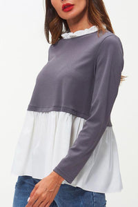 Multi-Function Polychromatic Splicing Lactation Long Sleeves T - Shirt