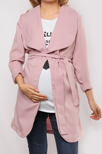 Maternity Long Sleeved Pure Color Wind Coat