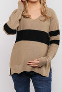 Maternity V-Neck Stripe Sweater