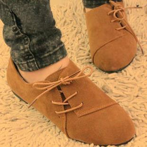 Women Plain Side Lace-Up Round Toe Casuals