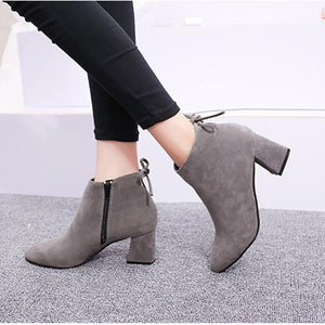 Pointed Toe Chunky Anckle Boots