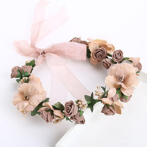 Maternity Flower Crown Wreath Brown Headband For Photography