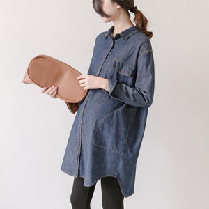 Maternity Long Sleeve Solid Color Shirt