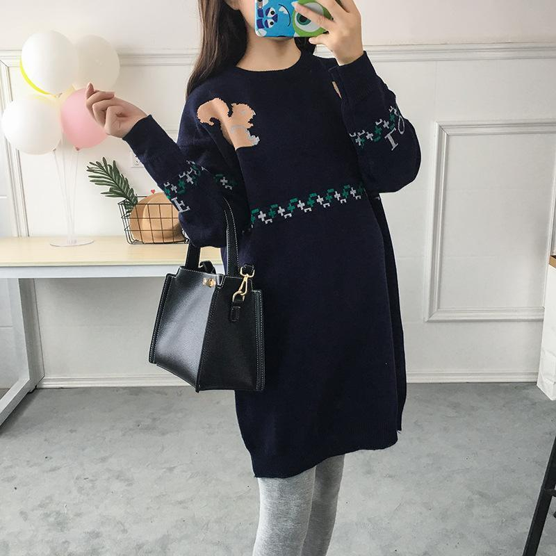 Wearing Stylish Spring And Autumn  Maternity Sweater Dress