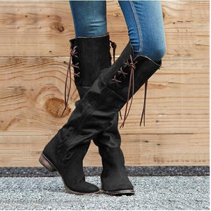 Vintage Style Women Large Size Lace-Up Zipper Mid-Calf Boots