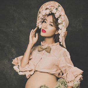 Maternity Fashion Top Dress Sets With Hat