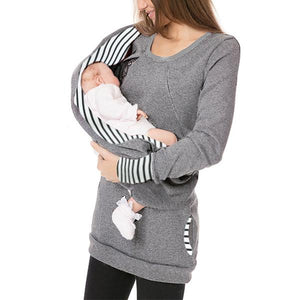 Multifunctional Detachable Collar Maternity Nursing Hoodie
