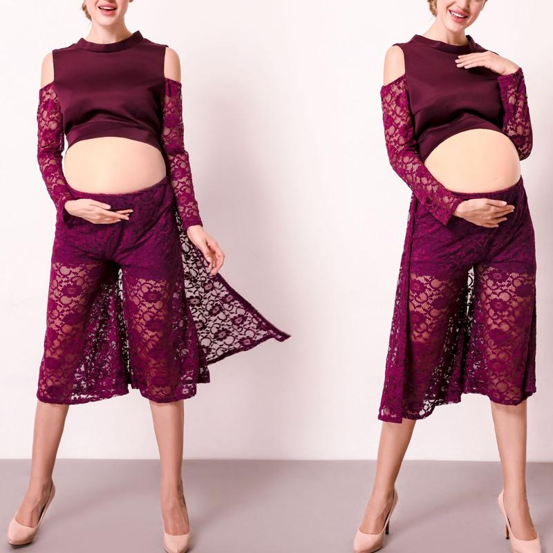 Maternity Lace Purple Photoshoot Culottes