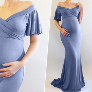 Special Occasion Maternity Ruffle Baby Shower Dress Bridesmaid Dress