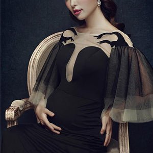 Maternity Elegant Black Trumpet Sleeve Photoshoot Dress