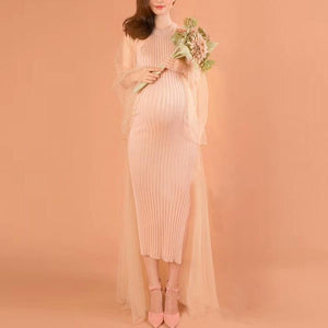 Maternity Knitted  Bodycon Dress With Gauze Shawl