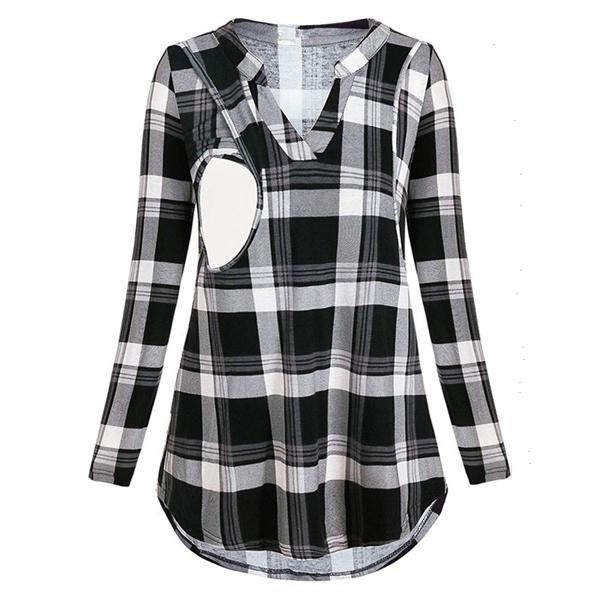 Multi-Function Lactation Lattice Printing Maternity Shirt