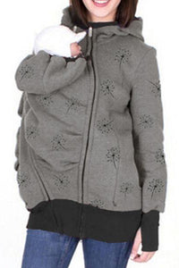 Maternity Removable Multifunctional Printing Colormatch Kangaroo Hoodie