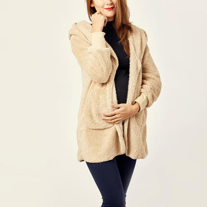 Maternity Hooded Fluffy In Fleece Fur Cardigans