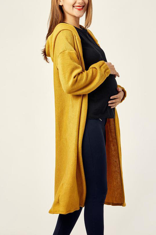 Maternity Hooded Long Sleeve Button Plain Casual Cardigans
