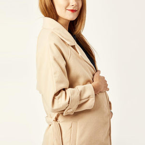 Maternity Notch Lapel Belt Plain Coat