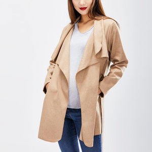 Maternity Lapel  Belt  Plain  Long Sleeve Trench Coats